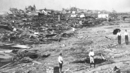A large part of the city of Galveston, Texas, is reduced to rubble after being hit by a surprise hurricane Sept. 8, 1900.