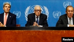 All three leaders spoke to the press after a meeting discussing the ongoing problems in Syria at the United Nations offices in Geneva September 13, 2013.