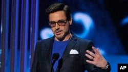 """Aktor Robert Downey Jr., yang berperan sebagai Tony """"Iron Man"""" Stark."""