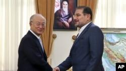 아마노 유키야 국제원자력기구 사무총장(왼쪽)이 2일 이란 테흐란에서 알리 샴카니 이란 국가 안보최고회의 사무총장과 만나고 있다.