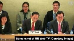 Phái đoàn Việt Nam tại phiên Kiểm điểm Định kỳ Phổ quát về nhân quyền Việt Nam lần thứ 3 tại Geneva, Thụy Sỹ, hôm 22/1/2019. (Screenshot of UN Web TV)