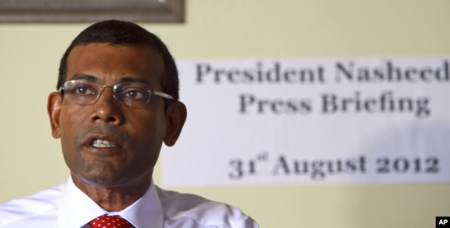 FILE - Mohammed Nasheed in Male, Aug. 31, 2012