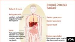 Potensi dampak dari radiasi terhadap sel-sel tubuh manusia.