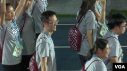 台湾选手2017年8月30日进入世大运闭幕式会场 (美国之音黎堡摄)