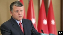 Jordan's King Abdullah speaks at Zahran Palace in Amman, February 20, 2011