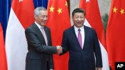 新加坡總理李顯龍與中國國家主席習近平9月20日在人民大會堂會晤