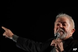 FILE - Brazil's former President Luiz Inacio Lula da Silva addresses supporters gathering to protest his conviction in Sao Paulo, Brazil, July 20, 2017.