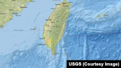 A map from the US Geological Survey showing where the earthquake struck.