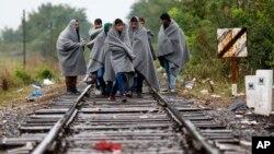 10일 세르비아에서 헝가리 접경 도시 로즈케 시로 넘어오는 난민들이 국경 인근 기찻길을 지나고 있다.