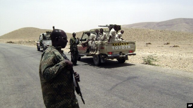 Puntland forces are seen heading toward the Galgala mountains, where al-Shabab militants are said to be operating (file photo).