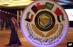 FILE - The seal of the Gulf Cooperation Council is displayed in Kuwait City, Dec. 4, 2017.