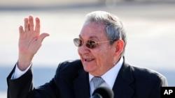 Presiden Kuba Raul Castro di Havana (12/5). (AP/Desmond Boylan)