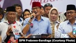 Cawapres 02 Sandiaga Uno dalam acara kampanye terbuka di GOR Ciracas, Jakarta Timur 25 Maret 2019. (Foto dok: BPN Prabowo-Sandiaga)