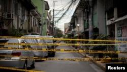 Một khu vực bị phong toả phòng dịch ở Manila, Philippines, vào ngày 12/3/2021.