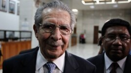 Former Guatemalan dictator Efrain Rios Montt heads out for the day after his trial session at the Supreme Court of Justice in Guatemala City, May 9, 2013.