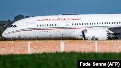 Un Boeing de la compagnie aérienne Royal Air Maroc à l'aéroport Benslimane du Maroc, le 2 février 2020. (Photo FADEL SENNA / AFP)