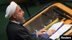 Presiden Iran Hassan Rouhani berpidato dalam Majelis Umum PBB Kamis (25/9).