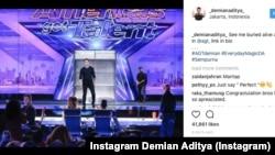 Pesulap Indonesia Demian Aditya saat tampil di acara America's Got Talent (Foto: Instagram Demian Aditya)