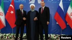 Владимир Путин, Хасан Рухани, Реджеп Тайип Эрдоган. Тегеран, Иран. 7 сентября 2018 г. (архивное фото)