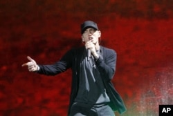 Rapper Eminem performs at Yankee Stadium in New York. , September 13, 2010.