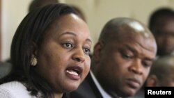 FILE - Anne Waiguru, Kenya's planning minister, presides over a bank product launch in Nairobi, Aug. 26, 2015.