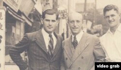 A photo of Arielle Salomon's grandfather, Abram Salomon, at left in photo.