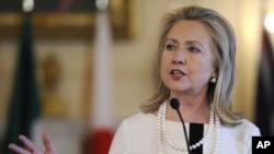 US Secretary of State Clinton speaking in Washington Apr. 12, 2012