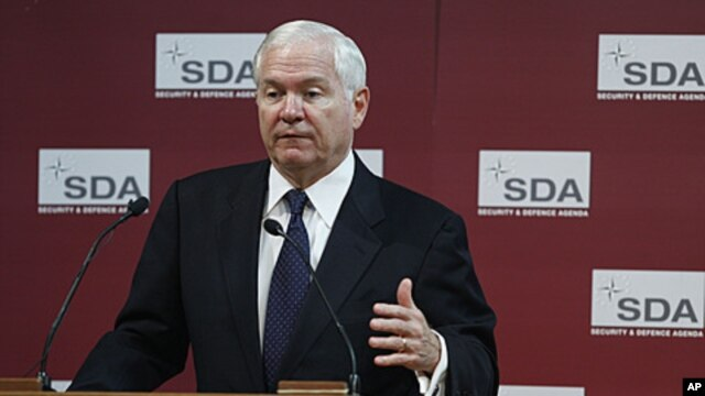 U.S. Defense Secretary Robert Gates speaks during a Security and Defense Agenda event at the Biblioteque Solvay in Brussels on Friday, June 10, 2011