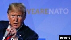 Arhiva - Predsednik SAD Donald Tramp na konferenciji za štampu nakon učešća u radu samita zemalja NATO, 12. jula 2018. u Briselu, Belgija.
