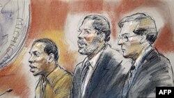 Bức phác họa phiên tòa tại Detroit bị can Abdulmutallab (trái) bên cạnh là luật sư Chambers