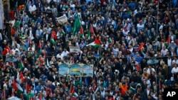 2018年5月14日,土耳其抗議者在伊斯坦布爾舉行示威游行,反對美國大使館從特拉維夫遷到耶路撒冷。