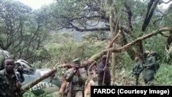 L'un de deux hélicoptères Mi-24 de Forces armées de la RDC retrouvés après deux crashs dans le nord-est de la RDC, Nord-Kivu, 31 janvier 2017. Crédit/FRADC