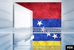 Venezuelans struggle to fill their refrigerators, as social media users tell VOA. (Photo illustration)