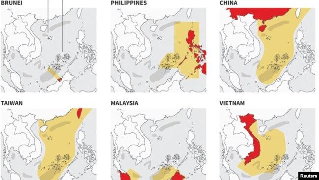 Sáu nước châu Á có các tuyên bố chủ quyền chồng lấn ở Biển Đông