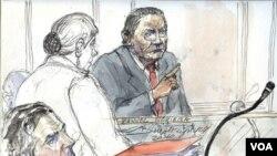 Sketsa persidangan mantan diktator Panama Manuel Noriega (kanan) dalam persidangan di Paris.