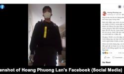 Bà Hoàng Phương Lan ở Bình Dương đăng video về việc bà bị cưỡng chế xét nghiệm COVID-19, 28/9/2021.