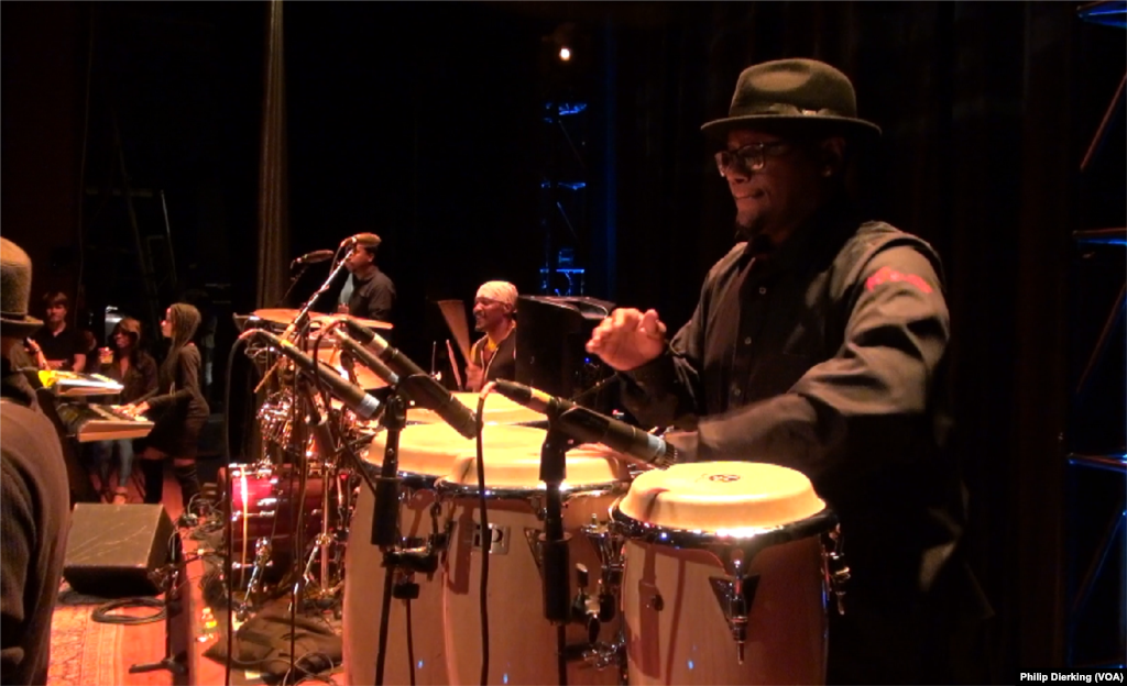"""Maurice """"Mighty Moe"""" Hagans, conga player for go-go band Experience Unlimited."""