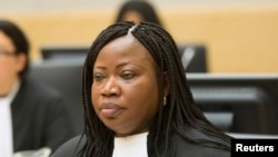 Prosecutor Fatou Bensouda looks on during the case against Congolese militia leader Bosco Ntaganda (not pictured) at the International Criminal Court in The Hague, Feb. 10, 2014.