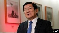 Chủ tịch Việt Nam Trương Tấn Sang trong cuộc phỏng vấn với hãng thông tấn AP tại New York, ngày 28/9/2015.