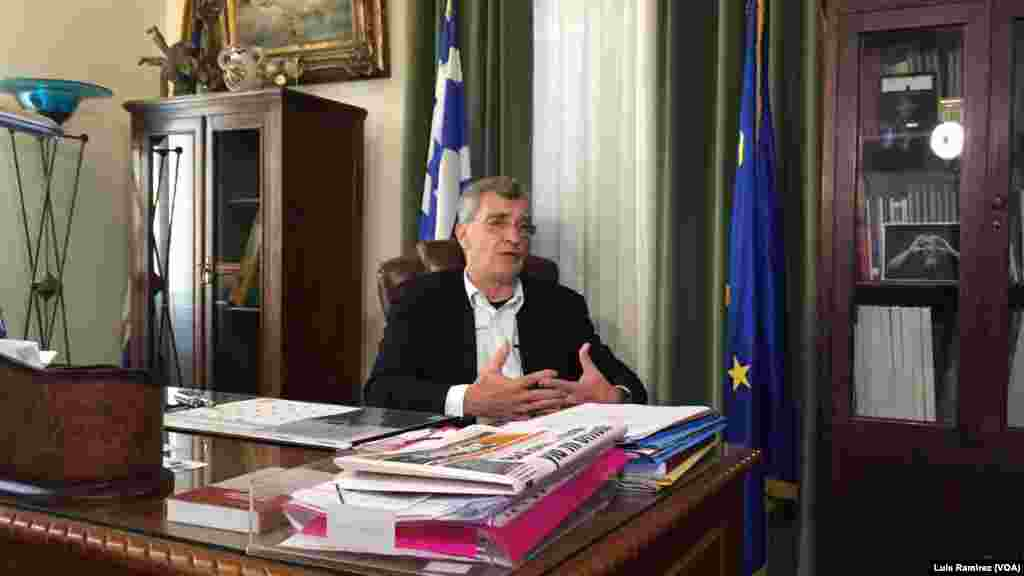 "Lesbos Mayor Spyros Galinos told VOA Sunday: ""Today, Europe is at a crossroads. One way it leads to an enlightened Europe of hope, of peace, of solidarity, one that defends human values and the other to a dark, Fascist past."""