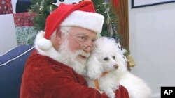 Santa Claus poses for pictures with pets to help raise money for the Washington Humane Society
