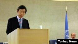 지난 2014년 윤병세 한국 외교부 장관이 스위스 제네바에서 열린 제25차 유엔 인권이사회(UNHRC) 고위급 회의에서 기조연설을 하고 있다. (자료사진)