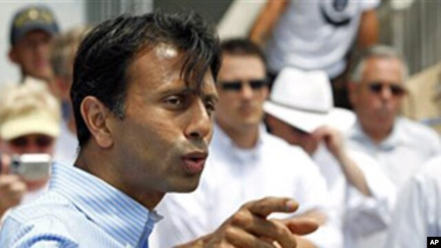 Louisiana Gov. Bobby Jindal speaks at a news conference on the first anniversary of the Deepwater Horizon oil spill in Grand Isle, La., April 20, 2011