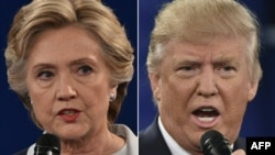 A combination of pictures created on Oct. 9, 2016 shows Democratic presidential candidate Hillary Clinton and Republican presidential candidate Donald Trump in St. Louis, Missouri.