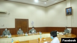 he Union Election Commission (UEC) holds an online interaction with the media. (Photo- UEC's Facebook)