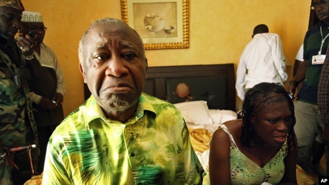 Ivory Coast President  Laurent Gbagbo and his wife, Simone, in a room at Hotel Golf in Abidjan after they were arrested, April 11, 2011.