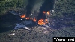 Le site du crash de l'avion militaire, le 11 juillet 2017.
