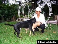 Chó Phú Quốc khi đã được nuôi như chó nhà trong Sở Thú Sài Gòn đầu thập niên 1990 (ảnh M. Cường)