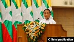 သမၼတ ဦး၀င္းျမင့္ မူးယစ္ေဆး၀ါးတိုက္ဖ်က္ေရး အထိမ္းအမွတ္ေန႔ အခမ္းအနားမွာ မိန္႔ခြန္းေျပာၾကားေနစဥ္- ေနျပည္ေတာ္ ဇြန္လ၊ ၂၆၊ ၂၀၁၈ (ဓါတ္ပံု- Myanmar President Office)