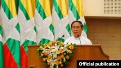 သမၼတ ဦး၀င္းျမင့္ မူးယစ္ေဆး၀ါးတိုက္ဖ်က္ေရး အထိမ္းအမွတ္ေန႔ အခမ္းအနားမွာ မိန္႔ခြန္းေျပာၾကားေနစဥ္- ေနျပည္ေတာ္ ဇြန္လ ၂၆ ၂၀၁၈ (ဓါတ္ပံု- Myanmar President Office)